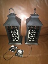 Happy Halloween Black Outdoor Carriage LED  Lantern Set of Two