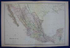 MEXICO, original antique map, Blackie, 1884