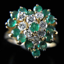 Vintage Diamonds & Emeralds 14k Yellow Gold Large Cocktail Cluster Ring Heart