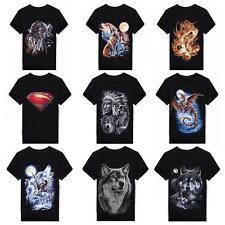 Mode Herren Unisex Wolf 3D-Druck Kurzarm Freizeit T-Shirt Tops Bluse Hemd SE