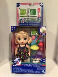 BABY ALIVE BLONDE SWEET SPOONFULS DOLL WITH EXTRA 8 PACKS POWDERED FOOD