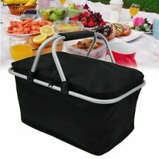 New listing Basket Lunch Picnic Food Portable Folding Insulated Cooler Camping Bag Box 30L