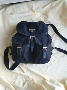 Prada unisex Medium Black nylon drawstring office Backpack shoulder bag Racksac
