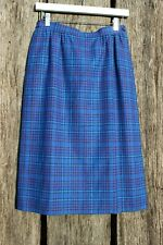 Vtg Pendleton Women's Sz 10P Blue Plaid Wool Pencil Skirt USA