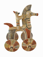 Horse with rider on wheels  Sculpture artifact reproduction from Cyprus