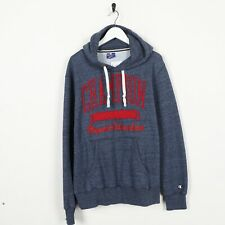 Vintage CHAMPION Big Logo Spell Out Hoodie Sweatshirt Navy Blue Large L