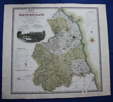 Original antique map NORTHUMBERLAND, NEWCASTLE, ALNWICK, Greenwood & Co. 1830