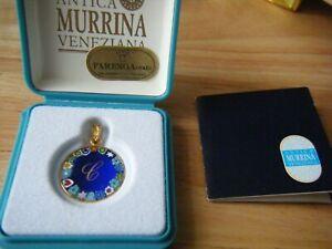 Antica Murrina Veneziana Murano Glass Pendant, Initial letter 'C'