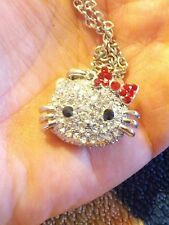 LARGE CLEAR CRYSTAL HELLO  KITTY NECKLACE W/ RED CRYSTAL BOW