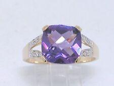 Amethyst Ring 585 Gelbgold 14Kt Gold natürlicher Amethyst und 8 Brillanten