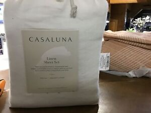 Full 100% Washed Linen Solid Sheet Set White - CasalunaGäó