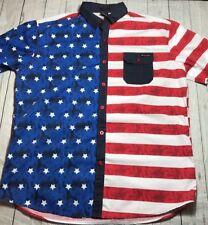 Enyce Sean Combs Patriotic U.S. Stars Stripes Blue Red White Flag Men Shirt 3X