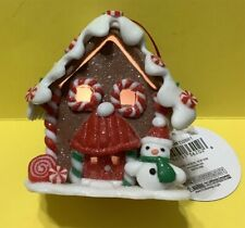 Snowman At Front Door - Gingerbread Home Lights Up! - Christmas Holiday Ornament