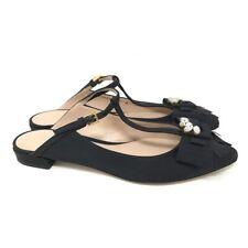Stuart Weitzman Womens Duckie T Strap Mule Shoes Black Rhinestone Buckle 8 M