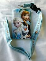 Disney Frozen BLUE Wallet Lanyard Elsa Anna OLAF Fast Pass Badge ID Holder NEW