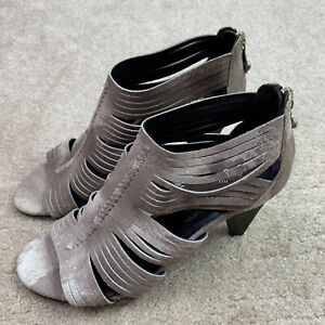 Donald J Pliner Thora Women's Taupe Resort Suede Open Toe Strappy Heels size 7