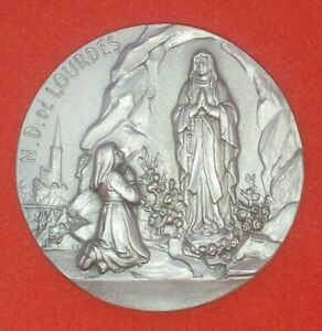 Vintage Italian Religious Medal Silver Metal and Celluloid Our Lady of Consolation MedalPendant