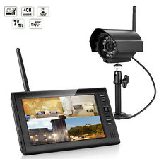 "Wireless 7"" TFT LCD 4CH Motion DVR Home Security System Night Vision IR Camera"