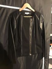 NWT Calvin Klein Womens Black Leather lined thin jacket size XSMALL XS