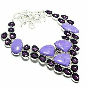 """Russian Charoite, Amethyst Ethnic 925 Sterling Silver Jewelry Necklace 18"""""""