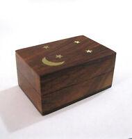 Small Moon & Stars Wooden Wood Trinket Pill Box Brass Accents