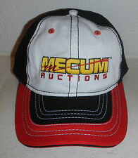NWOT Mecum Auto Auctions Sold Logo Black White Red Embroidered Baseball Cap Hat