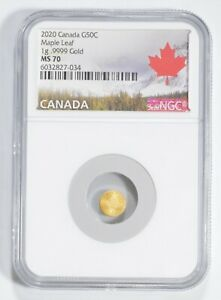 GOLD Maple Leaf 1g Gold 2020 Canada MS70 NGC - Perfect grade *0331