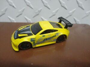 Loose Hot Wheels CUSTOM Yellow Nissan 350Z w/Black PR5 Spoke Wheels