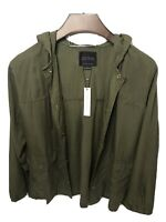 NWT Sanctuary Hooded Utility Shirt/Jacket, 1X, Dark Olive Snap front Retail$159