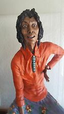 Indian woman by Anthony Koziana. Ceramic sculpture. Boxed under glass. Signed