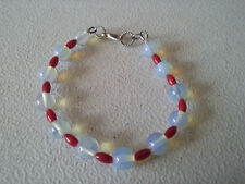 """HANDMADE SILVER PLATED RED CORAL AND OPALITE BRACELET 7 3/4"""""""