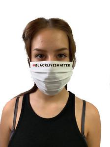 Schutzmaske - BlacklivesMatter 1 - weiß - wiederverwendbar - Modell 2