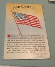 New listing 1910 Era Our Country Edward Everett Hale Song Lyrics Patriotic Postcard Us Flag
