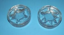 """4 Clear Glass Coasters with Star Glass Round Disks about 3.5"""" x1/2"""" Heavy Glass"""