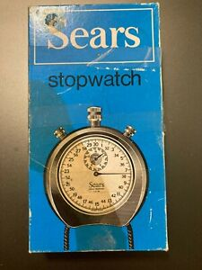 Vintage Sears Shock Resistant Swiss Made 1/10th Mechanical Stopwatch w/Box- NEW