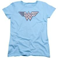 Wonder Woman Comics American Flag Justice League Women's Adult Graphic T-shirt