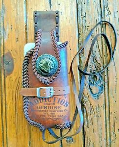 handmade leather belt phone case, woven with leather lace, engraved vintage