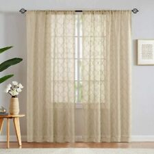 Sheer Curtains Living Room Window Drapes Lattice Embroidery Rod Pocket 2 Panels