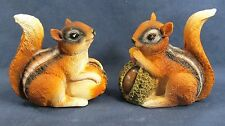 Chipmunks with seeds Yard and Garden Resin  Figurine Outside Decor Set of 2