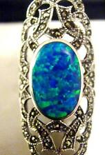 Antique style Blue Green Gilson opal Marcasite Cocktail Ring Sterling Silver P