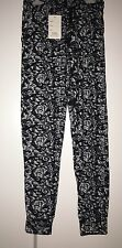Ladies Black & White Stretchy Leggings Trousers - One Size