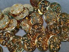"50 Italian ""ARTISTIC""  Metal Buttons Gold Finish 18/mm 11/16"" Shank Base"