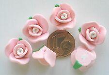 6 Perles Fleur rose coeur blanc Fimo 15x11mm mod3 DIY Bijoux Déco