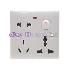 3 In 1 US/AU/UK/EU/China One Gang Wall Outlet Plate Socket Switch 110~250V 10A