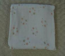 aden + anais Star Baby Blanket Cotton Muslin Swaddle White Pink Tan starburst