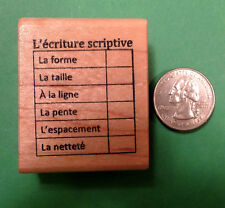 L'ecriture Scriptive, French Teacher's Printing Editing Grid, wood mounted stamp