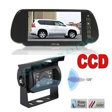 "18 IR LED Night Vision Car Reversing camera +7"" Car Monitor Mirror Rear View Kit"