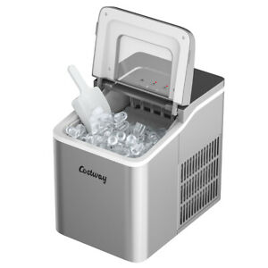 Costway Compact Ice Cube Maker 26Lbs/24H Self-cleaning w/ Scoop Silver