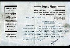 """PARIS (XV°) GARAGE & ACCESSOIRES pour MOTO """"PARIS MOTO / Noél BRIOU"""" en 1949"""