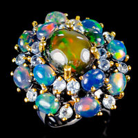 Beauty Rainbow4ct+ Natural Black Opal 925 Sterling Silver Ring Size 8/R120559